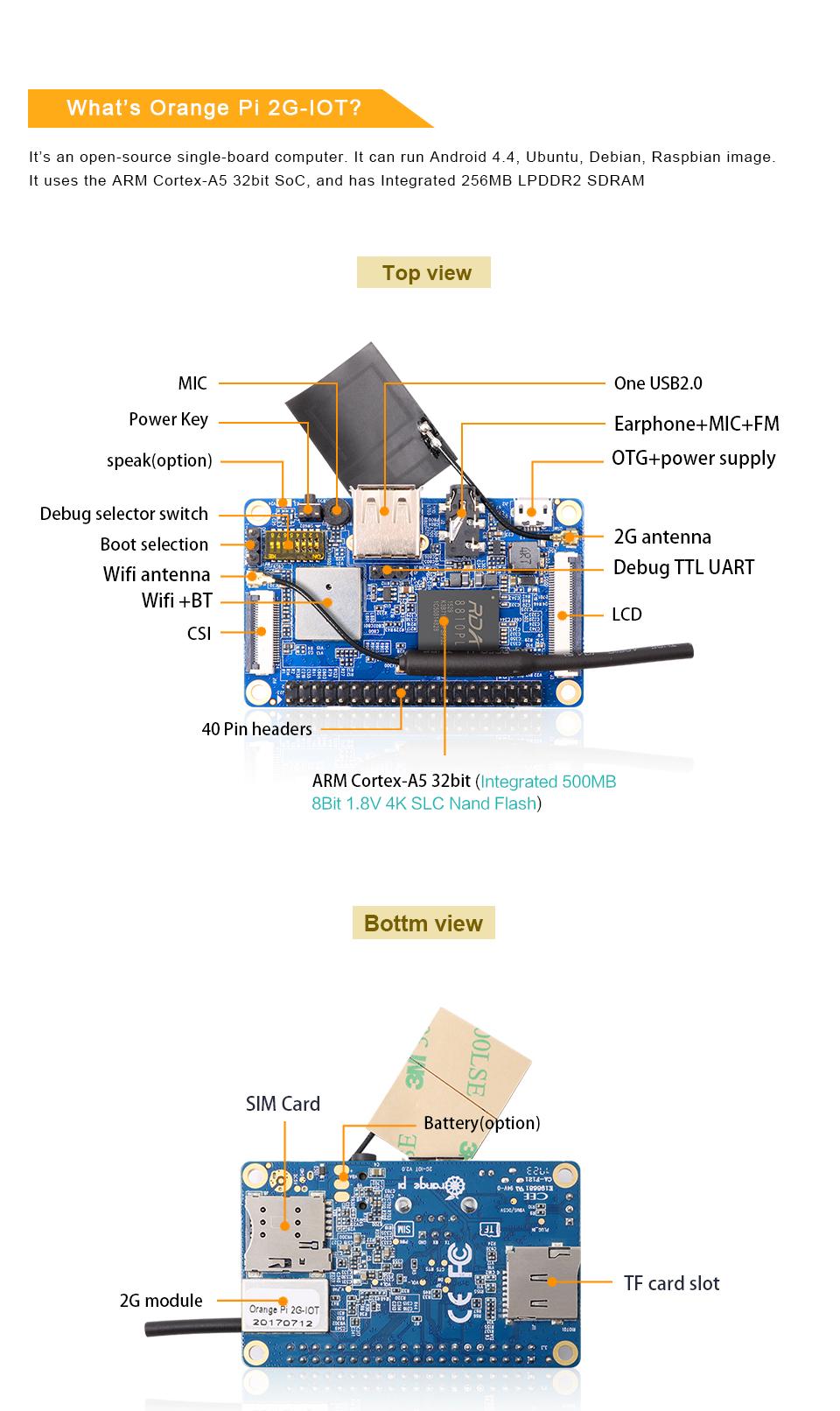 Orange Pi 2g-iot Arm Cortex-a5 32bit Bluetooth Support Ubuntu Linux And  Android Mini Pc Beyond Raspberry Pi 2 - Buy Orange Pi 2g-iot,Orange  Pi,Orange