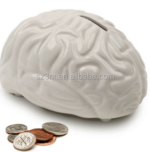 2017 Create horrible blank DIY brain shape coin bank /design your own money box/Creative plastic money saver maker