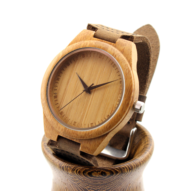 Unique Lover Natural Bamboo Wood Casual Quartz Watches Classic Style With Real Leather Strap In Gift
