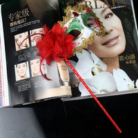 YM-044 Yiwu Caddy Party ladies fashion sexy white Princess Masquerade Masks With Stick venetian mask party supplies