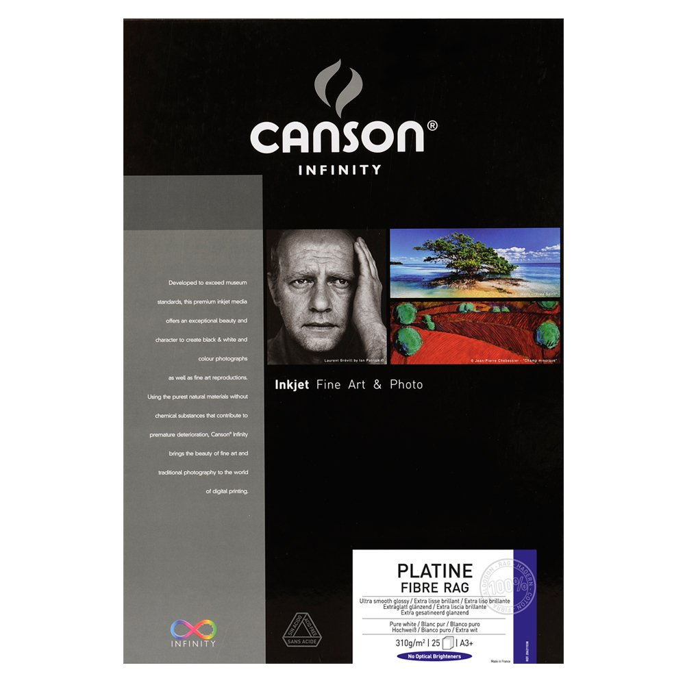 Canson Infinity Platine Fibre Rag 310gsm, Natural White Smooth Inkjet Paper, A3+, Box of 25 Sheets