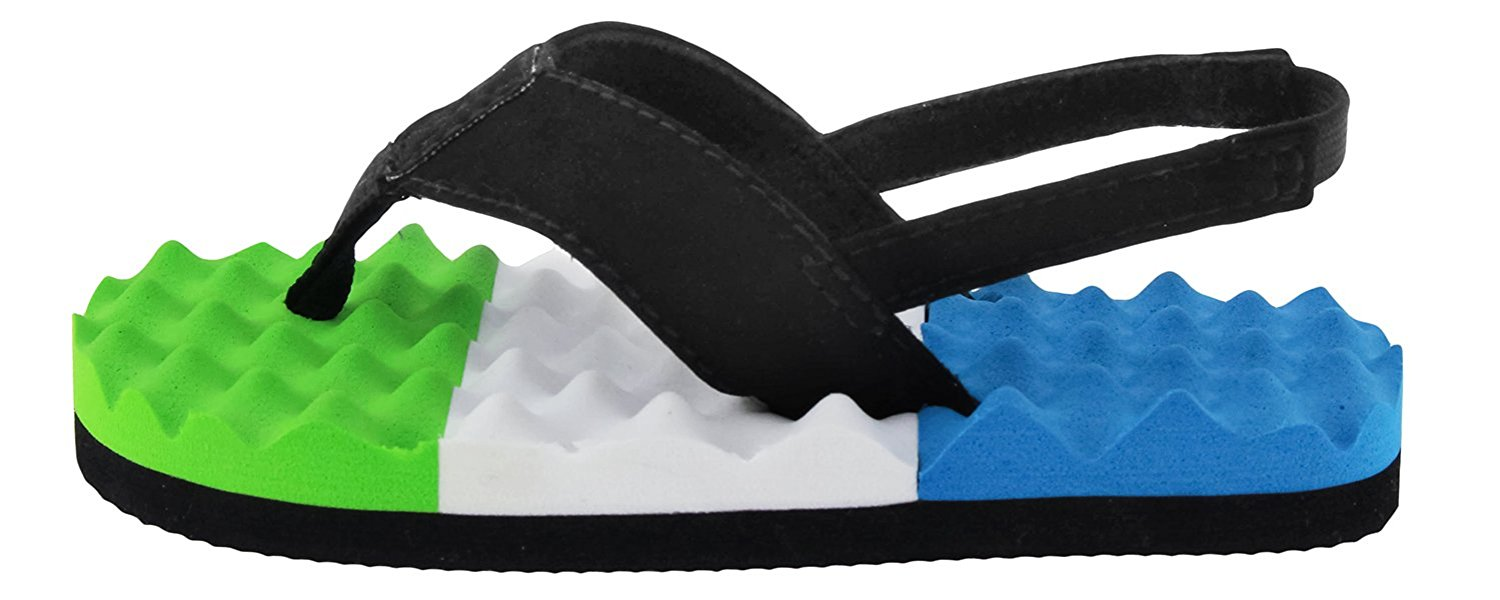 Capelli New York Faux Leather Lamy Thong with Color Blocked Texture Toddler Boys Flip Flop