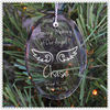 Engraving Glass Hanging Oval Ornament With Angel Wing