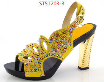 26ca5818e7a9ec sandals for party ST51203-3 yellow rhinestone sexy shoes peep top shoes  bride shoes for