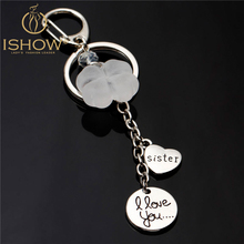 Fashion lucky pendant key chain silver moon heart keychain porte clef i love you sister key