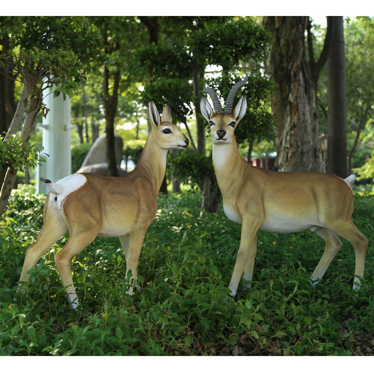Hand carved antelope figurines garden decor resin decorative animal statues