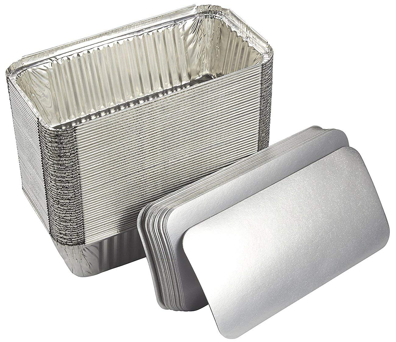Aluminum Foil Pans - 50-Piece Loaf Deep Disposable Steam Table Pans with Flat Board Lids for Baking, Roasting, Broiling, Cooking, 8.5 x 2.5 x 4.5 Inches