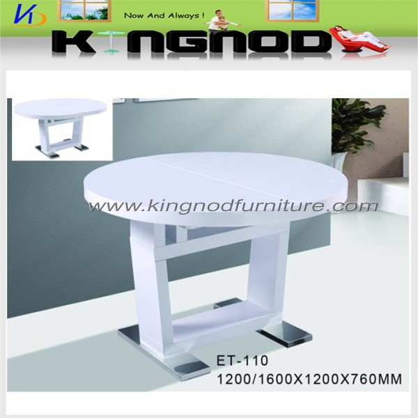 White high gloss extension round table