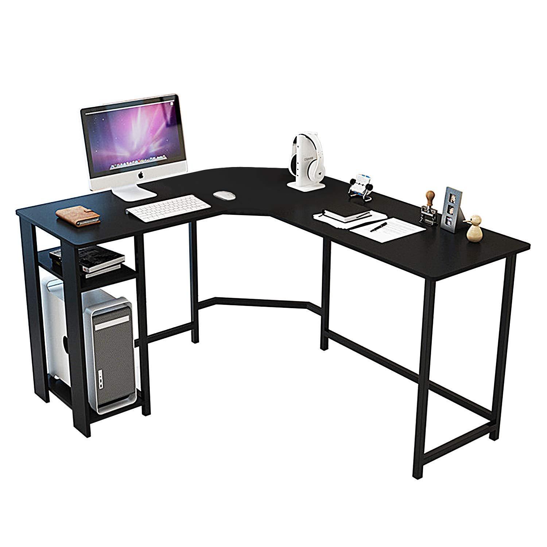 DL Furniture - Modern L-Shaped Desk, Home Office Workstation Corner Desk, Computer Writing Desk Table | Black with Storage Shelves