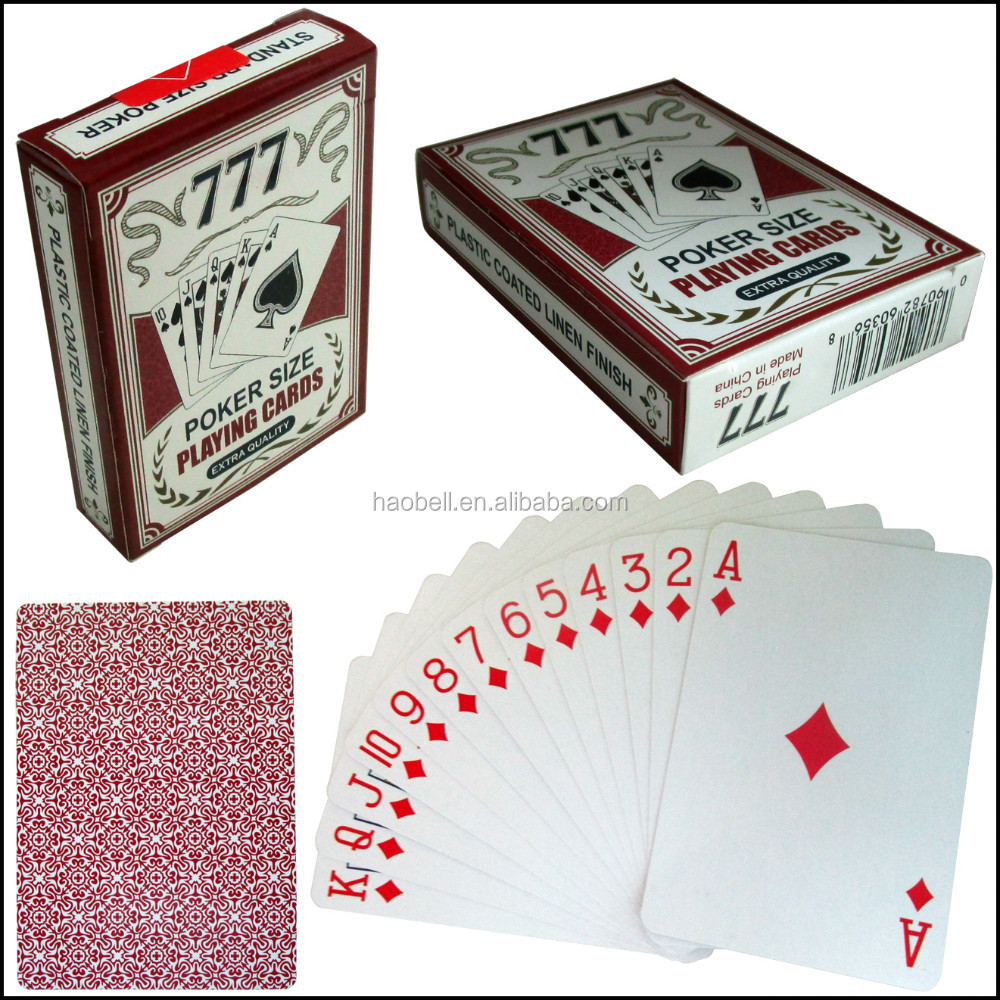 Plastic coated 777 papier poker speelkaarten voor supermarkt