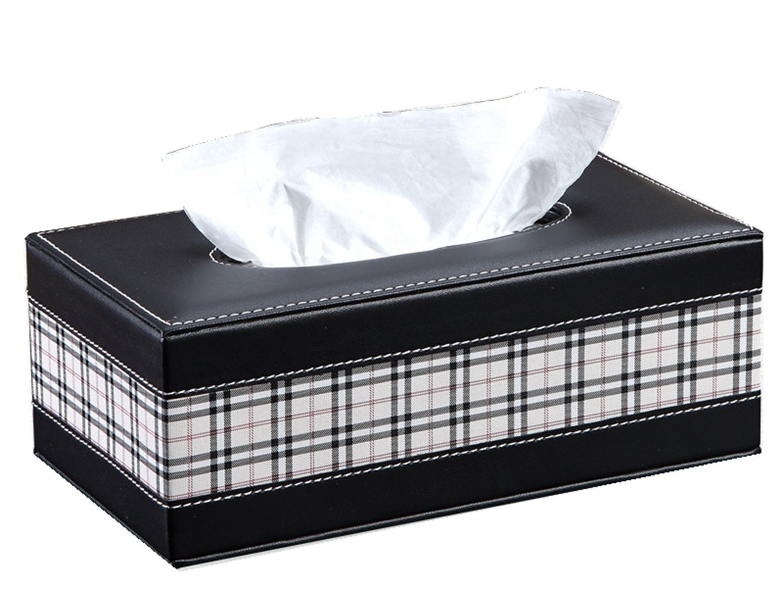 Black S Forever Diamond Chic Kleenex Box Holders PU Leather Rectangle Tissue Box Cover