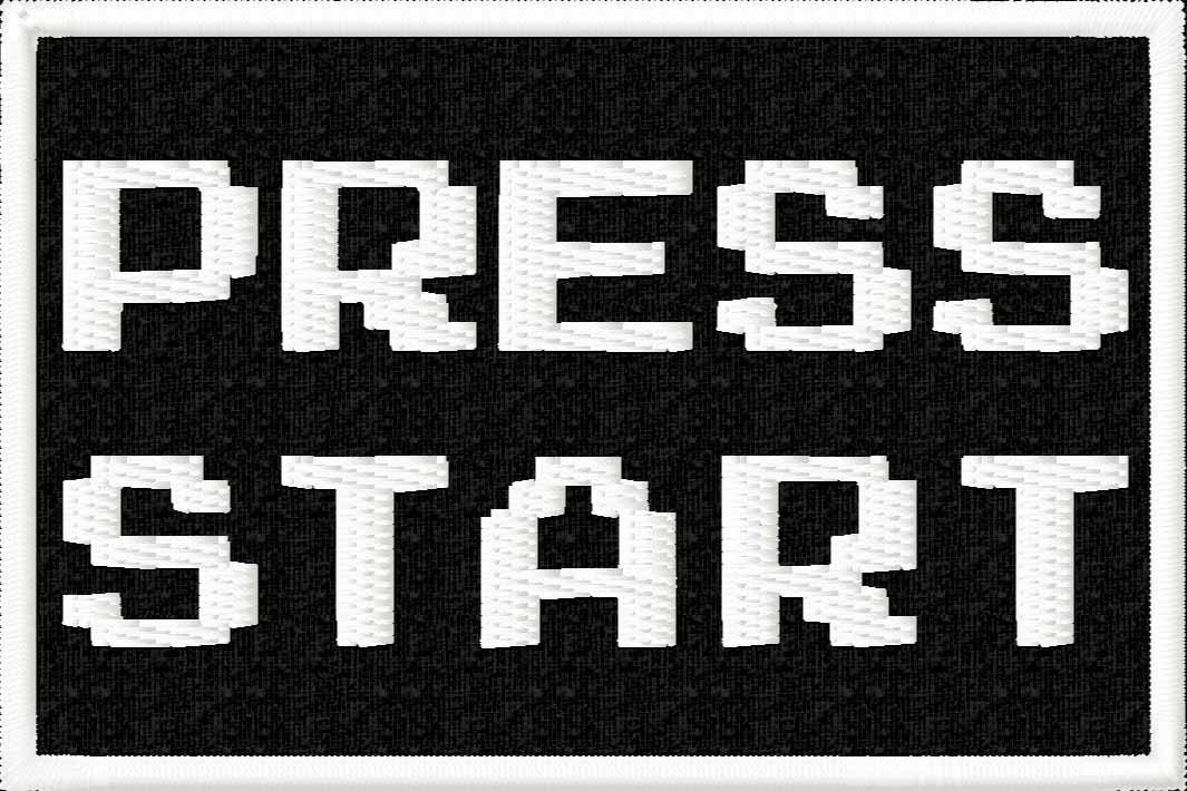 """80s Video Game Nostalgia Press Start Iron On Patch Applique - White, Black - 3"""" x 2"""" Rectangle - MADE IN THE USA - Gift wrap available!"""