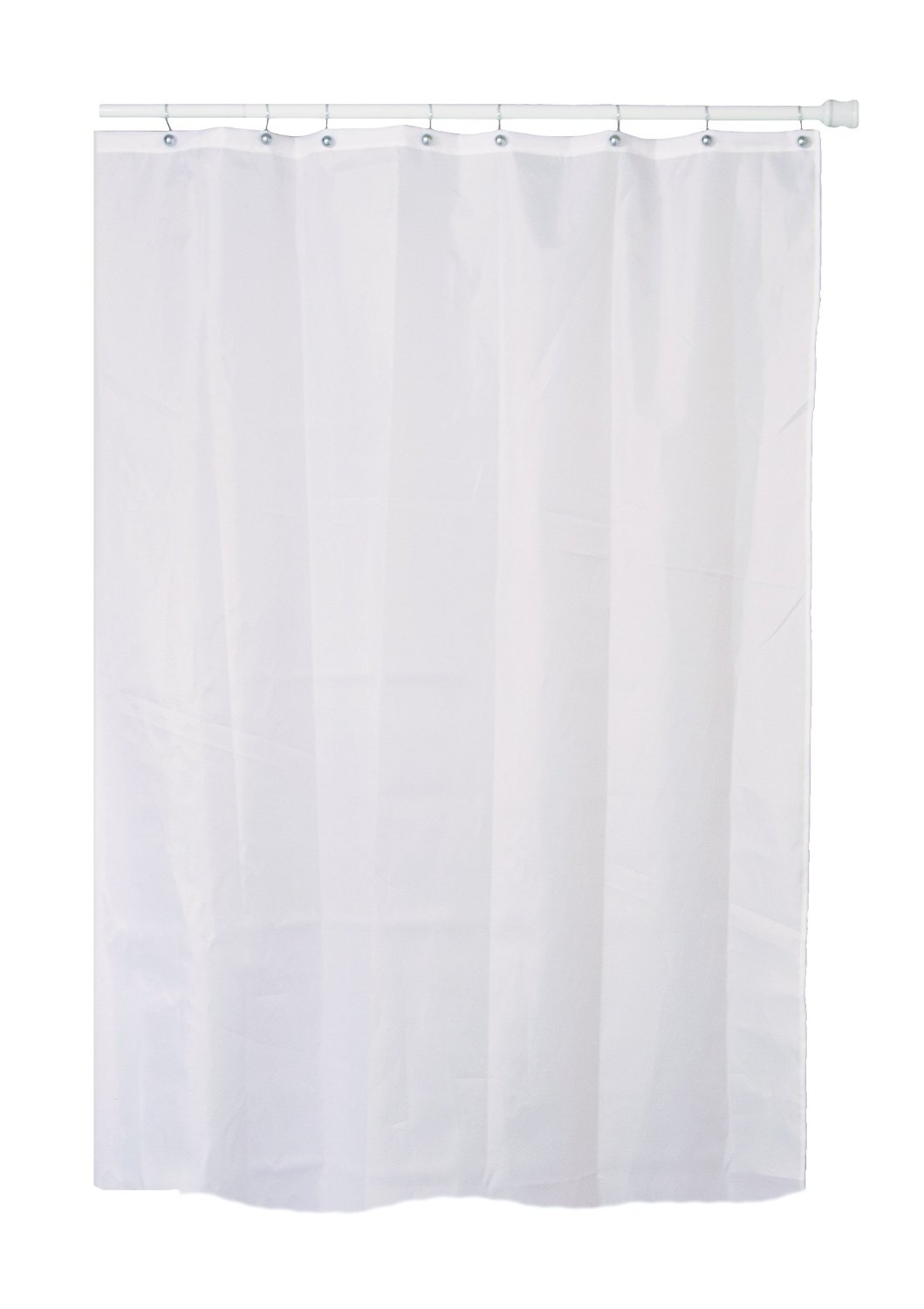 Extra Long / Tall White Fabric (Polyester / Nylon) Shower Curtain with Metal Grommets (Buckles), and a Weighted Hem to Reduce Billowing. Dimensions = 84 inches (7 ft) Tall x 72 inches (6 ft) Wide