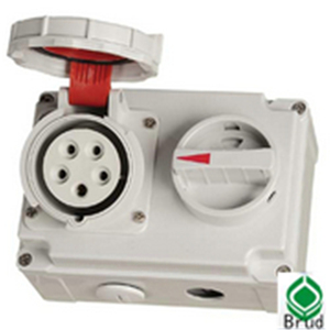 Nylon IEC IP67 16A 5P 400V Industrial mechanical interlock sockets with switches
