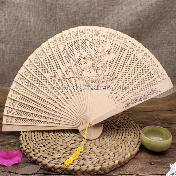 Chinese Hand Sandalwood Lovely Wooden Folding Fan With Carved Patterns