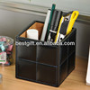 pu leather pen storage boxes, cube shape black pu pen holder