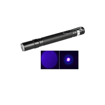 Mini 395nm Blacklight Torch Currency Detector Ultraviolet Porket Small led Purple lights zoomable uv Blacklight flashlight Pen