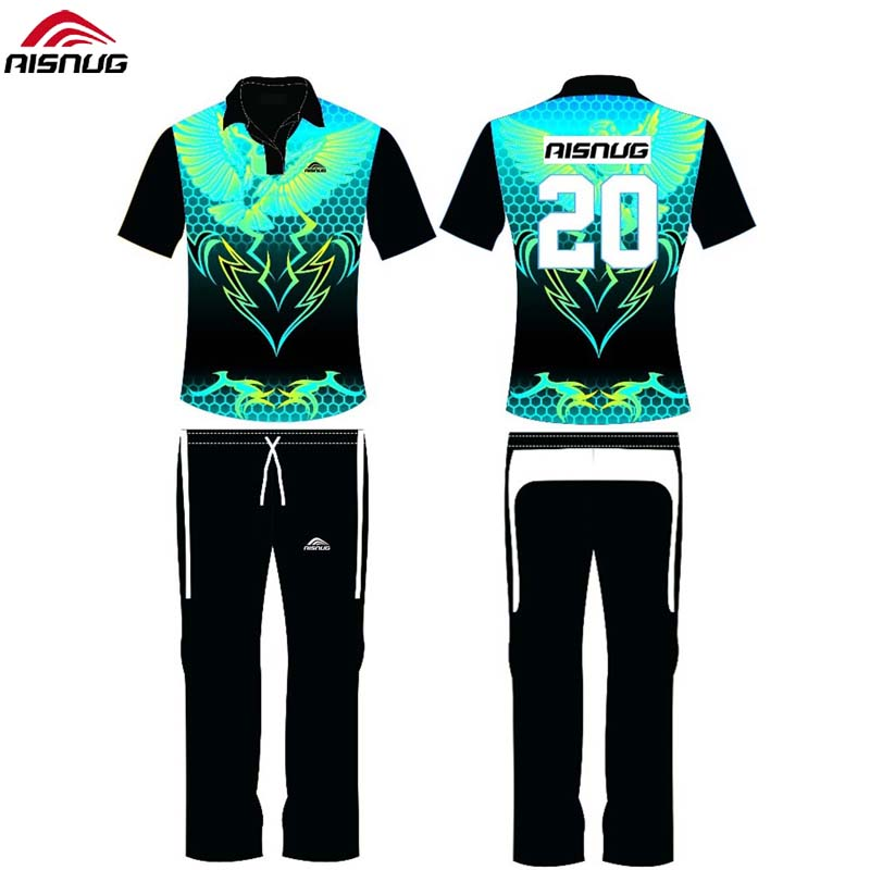 custom designs uniforms printing sublimated cricket shirts color and trouser