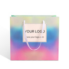 custom fashion luxury brand holographic drawstring paperboard paper shopping packaging handle bag with ribbon