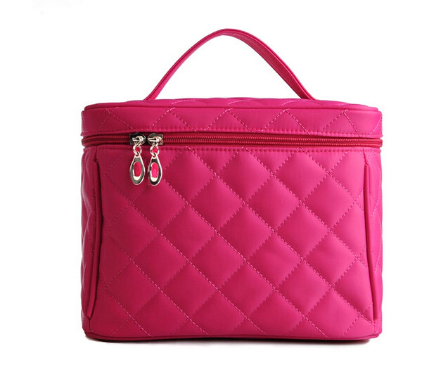 Free shipping travel cosmetic bag pink cosmetic case satin trunk shape washbag large capacity