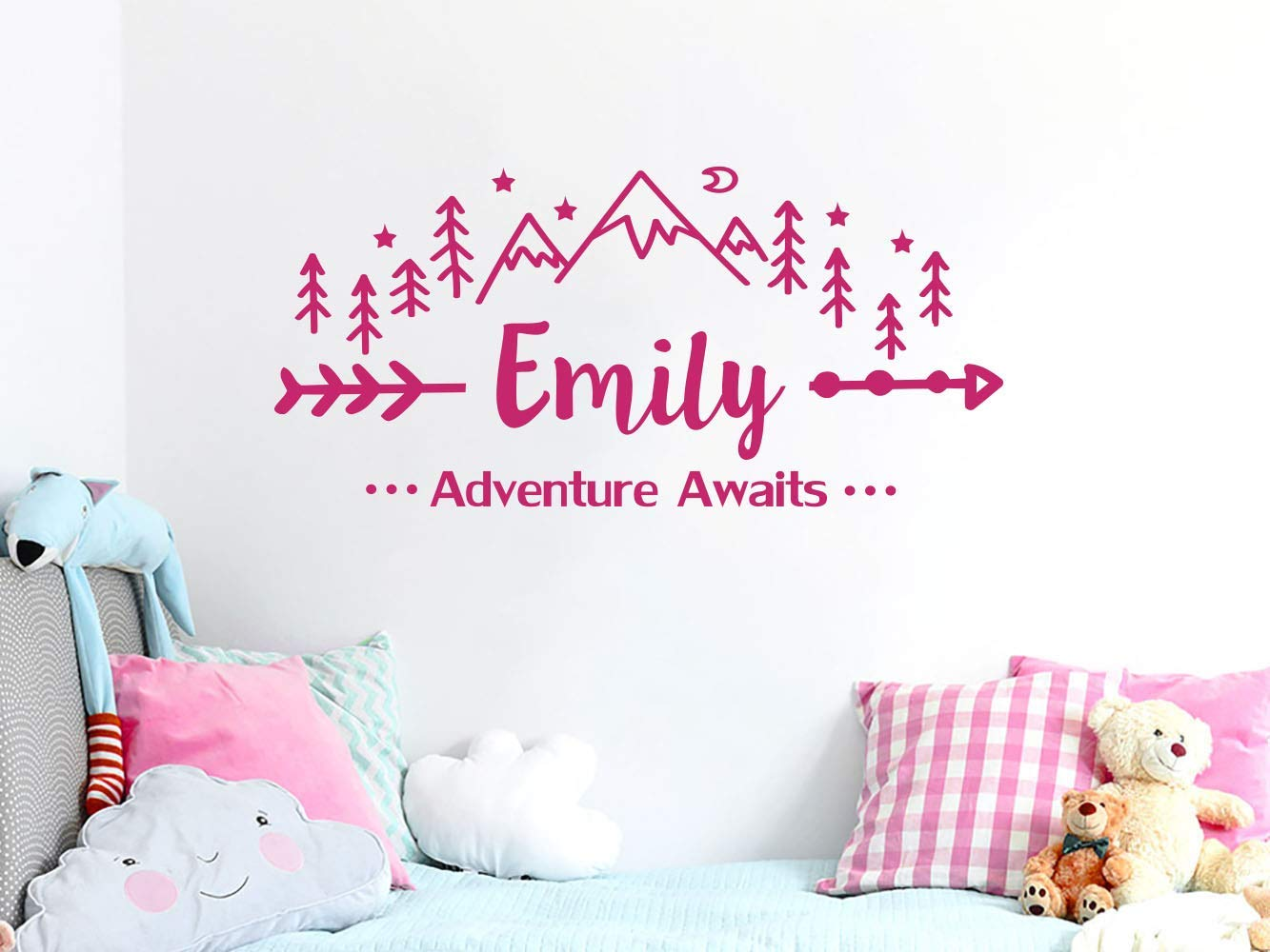 Girls Name Wall Decal Adventure Awaits - Mountain Nursery Wall Decal - Adventure Awaits Arrow Vinyl Stickers - Mountain Wall Decor - Girls Custom Name - Girls Name Stickers C696