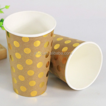 china hot drink paper cup manufacturer customized 16oz gold foiled  disposable paper coffee tea cup, View cheap disposable coffee cups, Decheng  Product