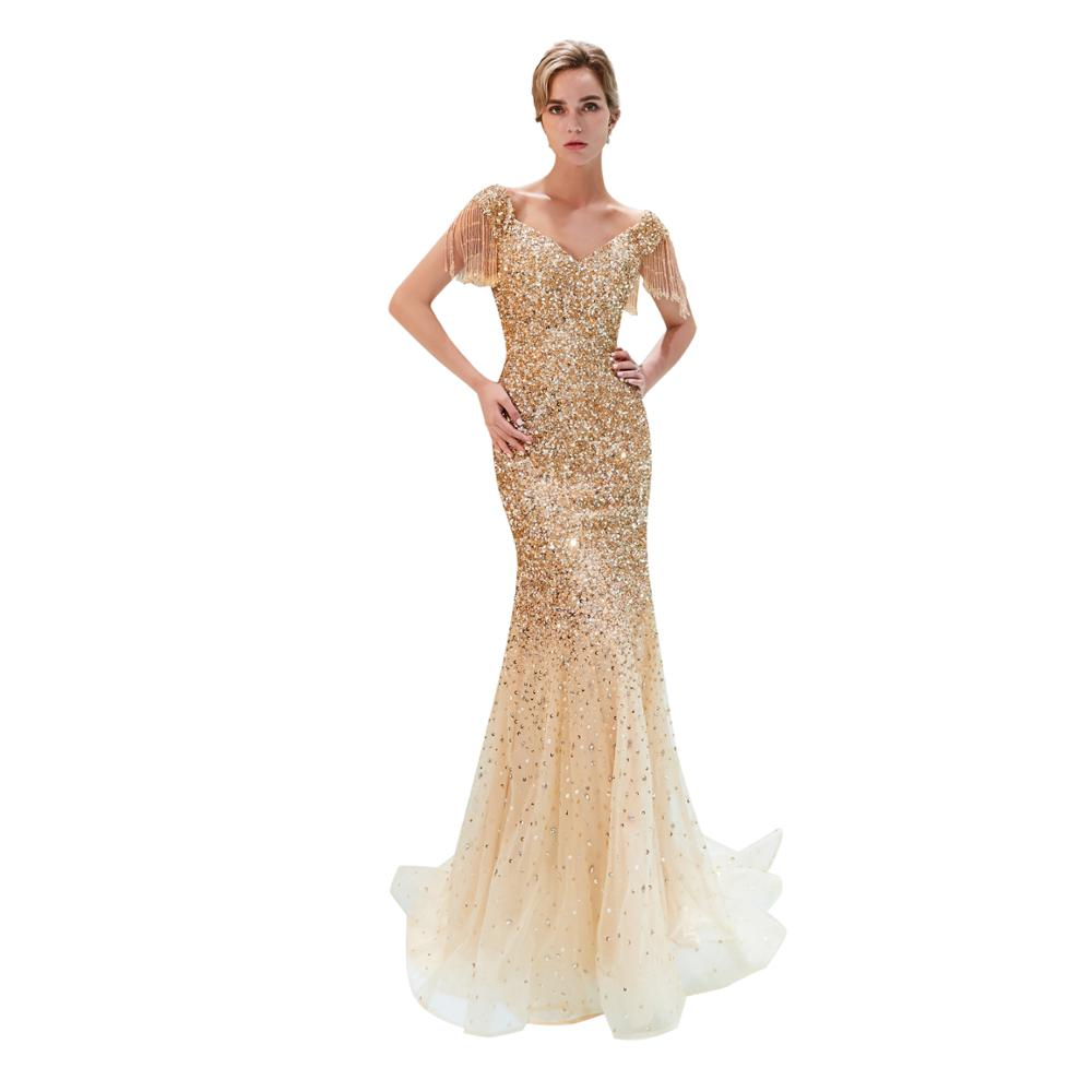 Fashion short sleeves Gold Sequin Evening Party Gowns Long Prom Dress Crystal Sequined Tulle Mermaid Sexy Evening Dress PE24