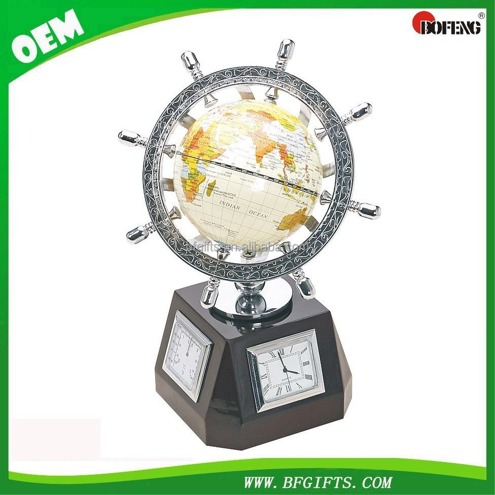 Wooden Base Office Stationary Desktop with clock and World Globe