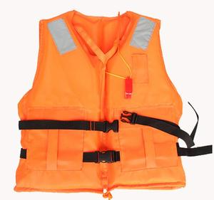 High quality polythene polyfoam with two pockets whistle and reflective tapes two black belts adult saving life jacket