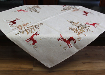 Deer And Christmas Tree Tablecloth For