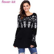 Großhandel 4 Farbe Mode A-linie Beiläufige Weihnachts Fit Mode Pullover Top