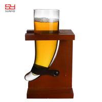 2019 Customized Handmade Unique Design Transparent Clear Horn Shaped Beer Steins Beer Glass