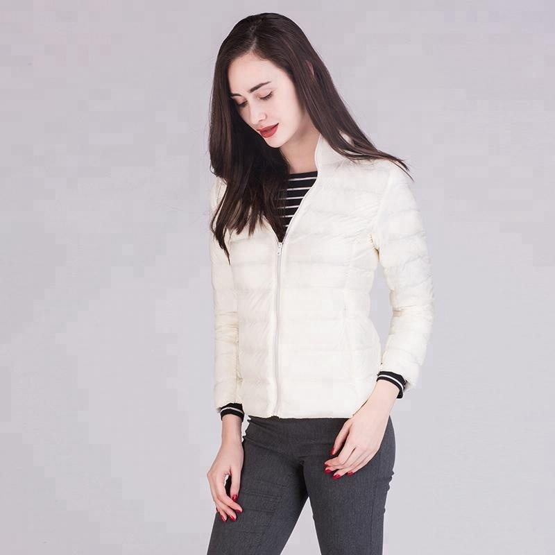 Ultra Light Stand Collar Ladies Bomber Down Jacket