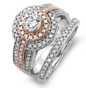 14k Two Tone Rose Gold TDW Round Diamond wide band Engagement Bridal Ring Set With Matching Band