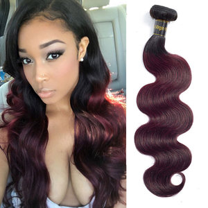 Ruilong HAIR Two Tone Ombre Colored 1B/99j Brazilian Body Wave Human Hair Weave Bundles Without Chemical