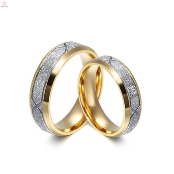 Frosted Diamond Rings Fake Gold Wedding Simple