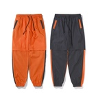 Hip Hop Color Block Patchwork Windbreaker Pants Streetwear Trousers Loose Harem Pants Unisex Orange Pants