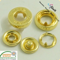 decorative hang plating gold color metal hole cap hollow ring prong snap button