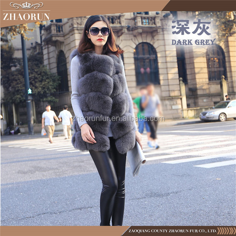 New Fashion Sleeveless Real Fur Coat /Fur Outerwear /Lady Winter Real Fox Fur Vest Women