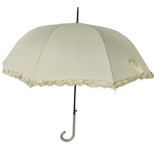 auto open dome shape stick long ruffled umbrella for women design