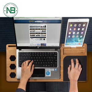 Lightweight bamboo organizer computer lap desk board with cooling pad