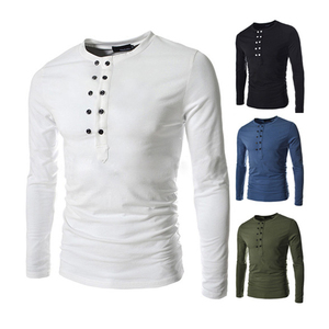 2017 New Arrivals European Designs Double Buttons Simple Casual Tight 6XL Gothic Long Sleeve T-Shirts Plain