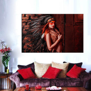 Framework Modular Picture Poster 1 Panel Native American Indian Girl Feathered Print Canvas Painting For Living Room Decor