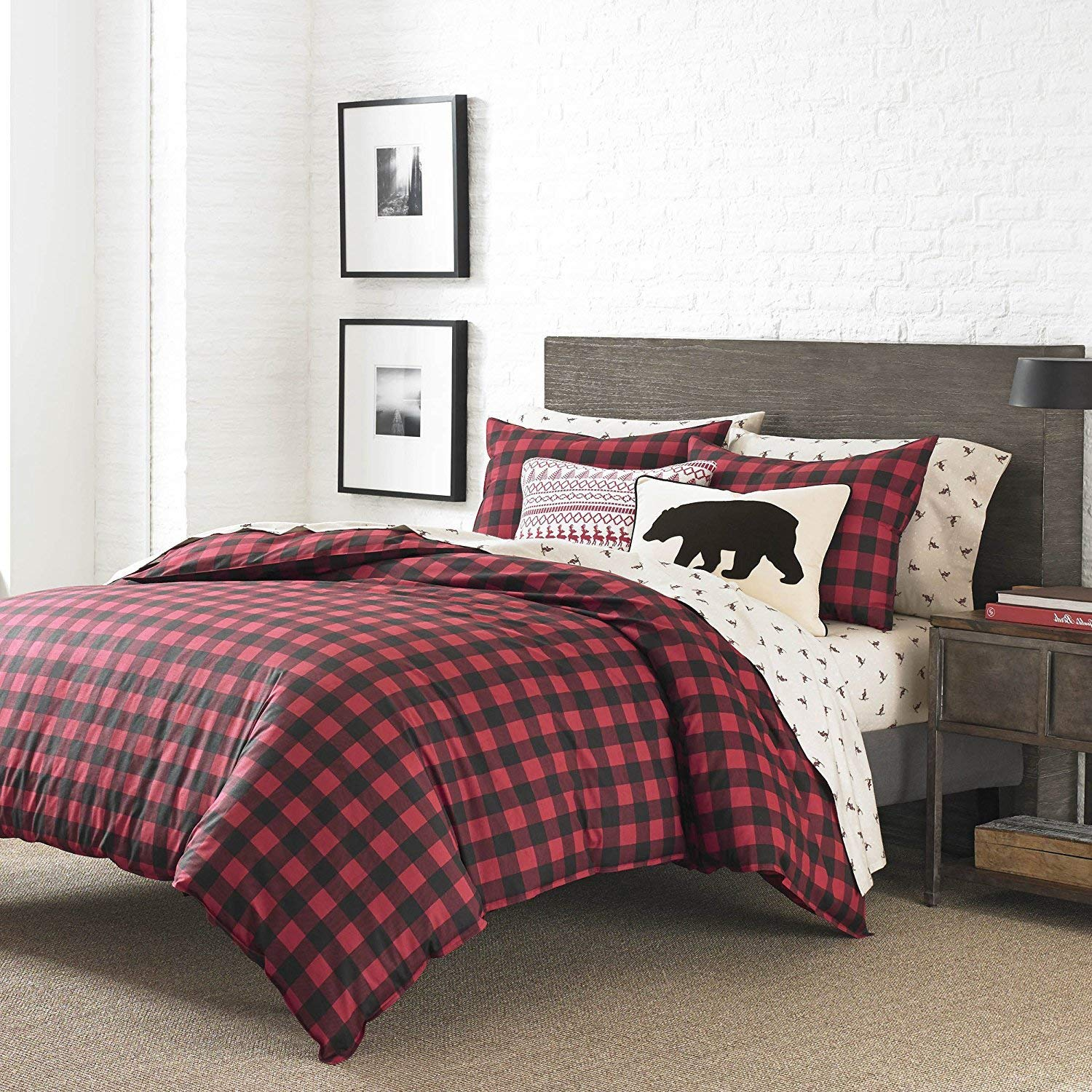 OSD 3pc Black Red Plaid Comforter Full Queen Set, Cabin Themed Bedding Checked Lumberjack Pattern Lodge Southwest Tartan Madras Crisscross Squares Hunting, Percale Cotton