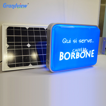 Outdoor advertising hanging sign display custom acrylic led solar power light box environmental
