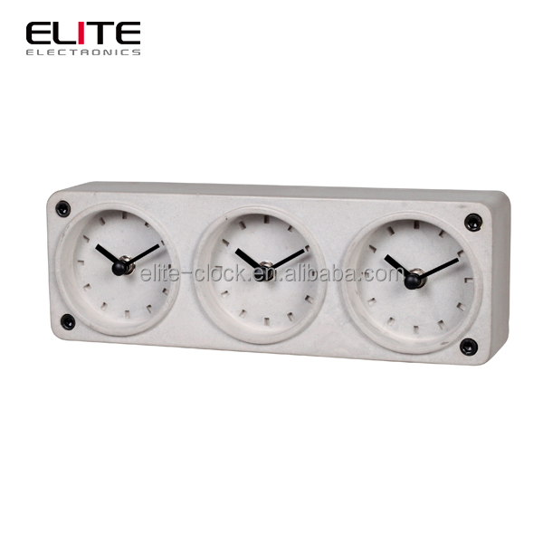 original design customized concrete multiple time zone table clock china