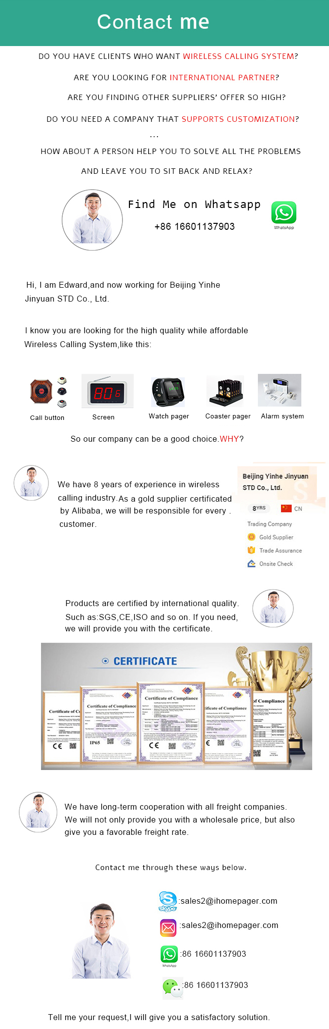 Best price wireless restaurant call waiter service digital