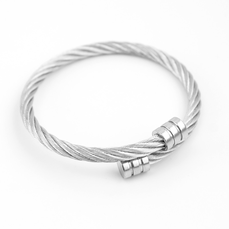Mens Punk Style Stainless Steel Wire Rope Bangle Male Twist Cable Bracelet
