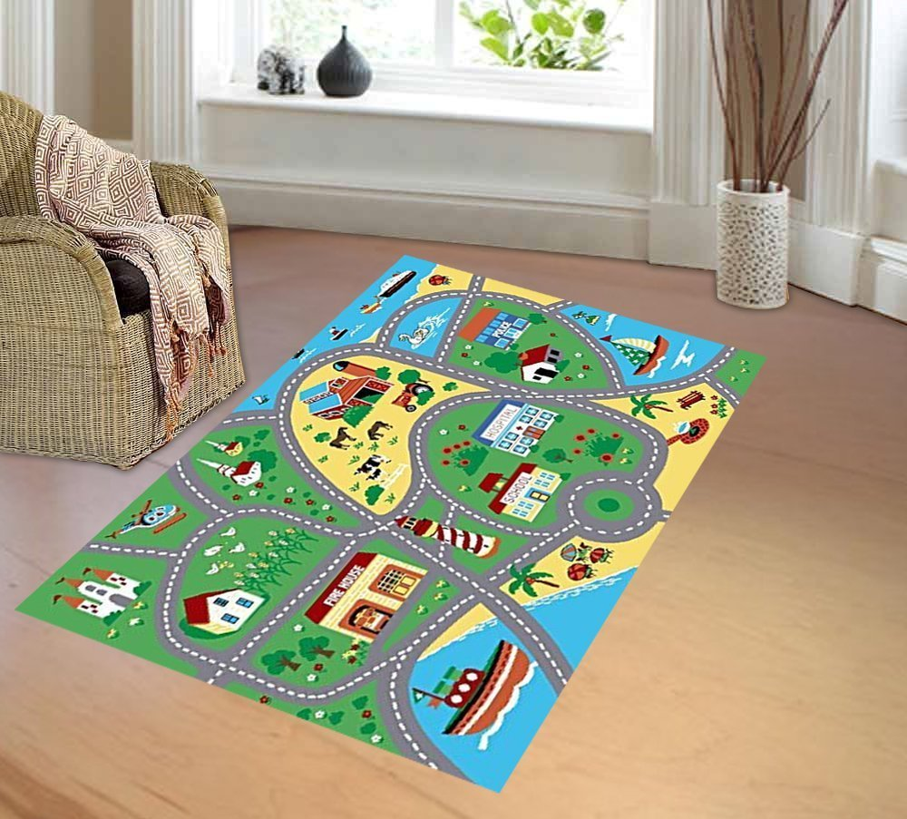 Furnish My Place City Street Map Children Learning Carpet Play Kids Rugs Boy