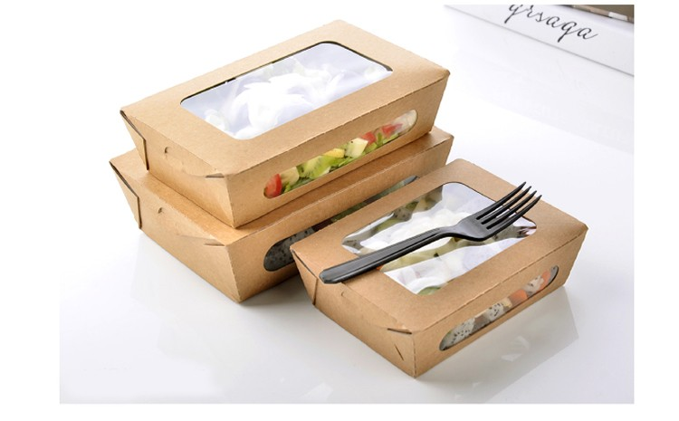 3 Size Kraft Paper Salad Box Disposable Water Proof